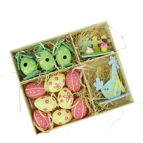 Northlight 13ct Easter Egg Birdhouse And Rooster Spring Decorations Pink Yellow