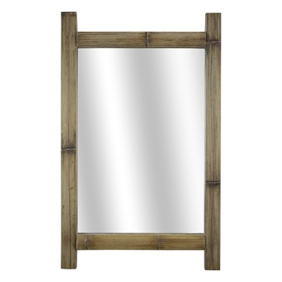 "16.3"" x 26"" Bamboo Wood Framed Wall Vanity Mirror Brown - American Art Decor"