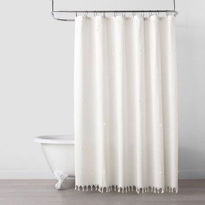 Clip Stitch Knotted Fringe Shower Curtain Sour Cream - Hearth & Hand™ with Magnolia