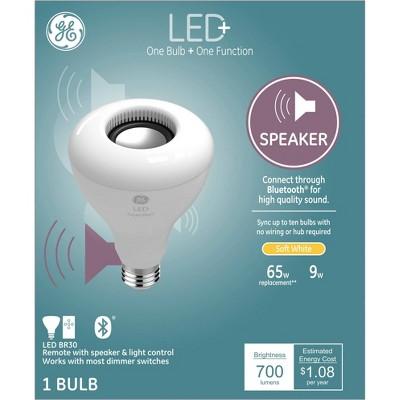 General Electric BR30 Speaker LED + Light Bulb White