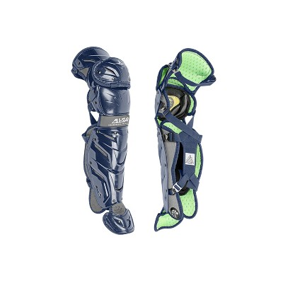 All-Star Sports S7 LG1216S7X-NA Axis Baseball Catcher Leg Guards Protective Gear for Ages 12 to 16 Years with LINQ Hinge System and D3O Padding, Navy
