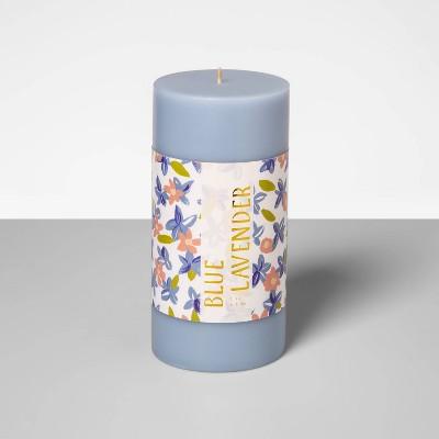 "6"" x 3"" Pillar Candle Blue Lavender - Opalhouse™"