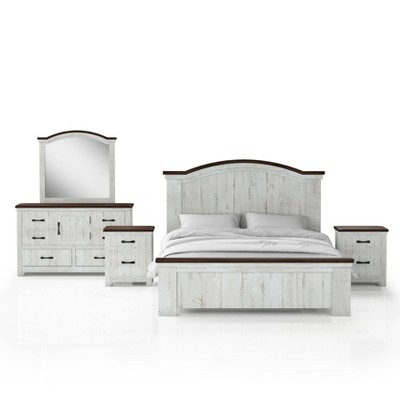5pc Willow Rustic Bedroom Set with 2 Nightstands Distressed White/Walnut - HOMES: Inside + Out