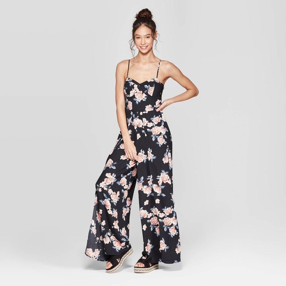 Women's Floral Print Strappy Bra Cup Jumpsuit - Xhilaration Black Xxl
