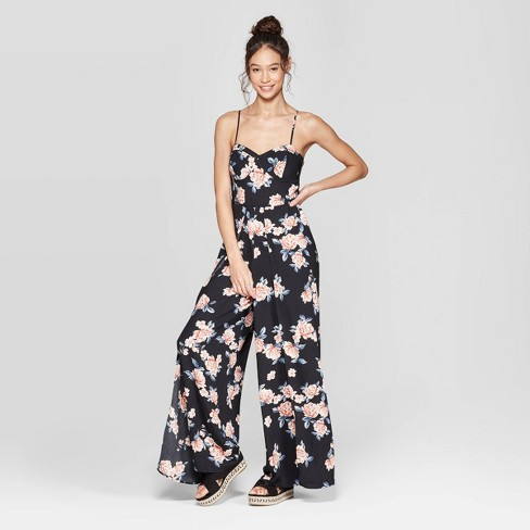 b4a58c646455 Women s Floral Print Strappy Bra Cup Jumpsuit - Xhilaration™ Black ...