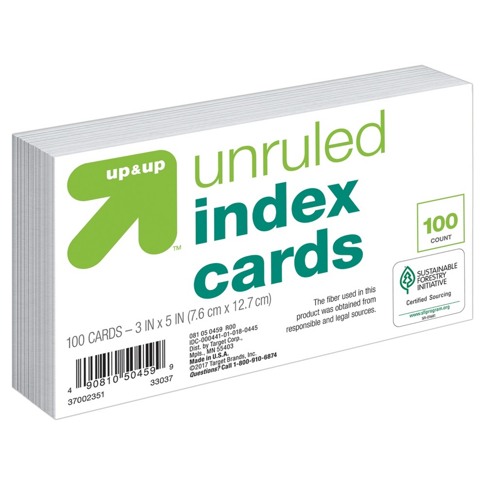 """Image of """"Index Cards Unruled 3"""""""" x 5"""""""" 100ct White - Up&Up"""""""