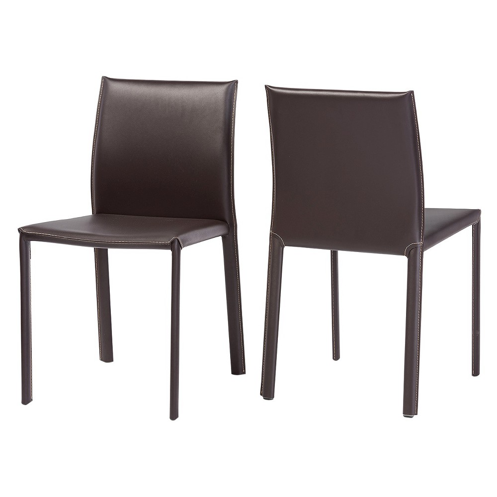 Burridge Leather Dining Chair - Brown (Set Of 2) - Baxton Studio
