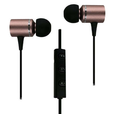 Morpheus 360 EB3500R Metal Wireless In-Ear Headphones, Bluetooth Earbuds with Microphone, 8 Hour Playtime, Inline Audio Controls, Sweat-Proof IPX4, For Work, School, Office, Rose Gold