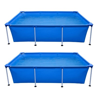 JLeisure Avenli 17773 Outdoor Backyard 10 x 6.5 x 2 Feet Above Ground Rectangular Steel I Frame Swimming Pool with Repair Kit, Blue (2 Pack)