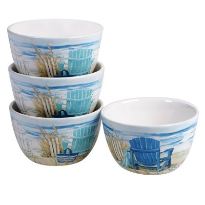 22oz 4pk Earthenware By The Sea Ice Cream Bowls - Certified International