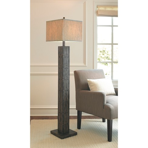 Mosaic Wood Look Floor Lamp With Square Linen Shade Brown