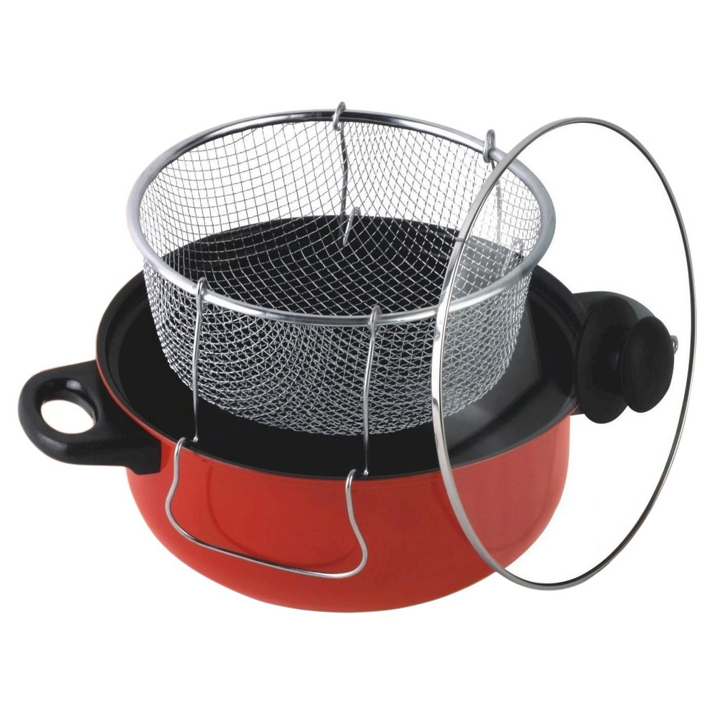 Gourmet Chef 6.5 Quart Non Stick Deep Fryer with Frying Basket and Glass Cover – Red 50612947