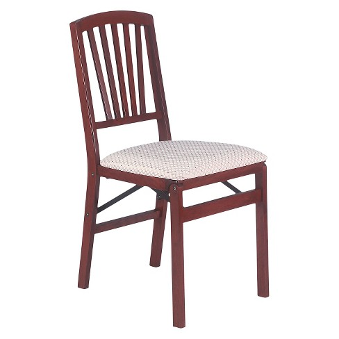 2 Piece Slat Back Folding Chair Cherry - Stakmore® - image 1 of 1