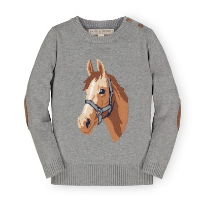 Hope & Henry Girls' Long Sleeve Intarsia Horse Sweater with Elbow Patches, Infant