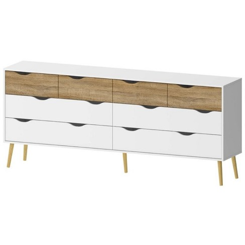 Wood 8 Drawer Dresser in White and Oak-Tvilum - image 1 of 1