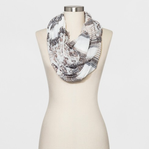 Collection XIIX Women's Floral Print Loop Scarf - Neutral - image 1 of 2