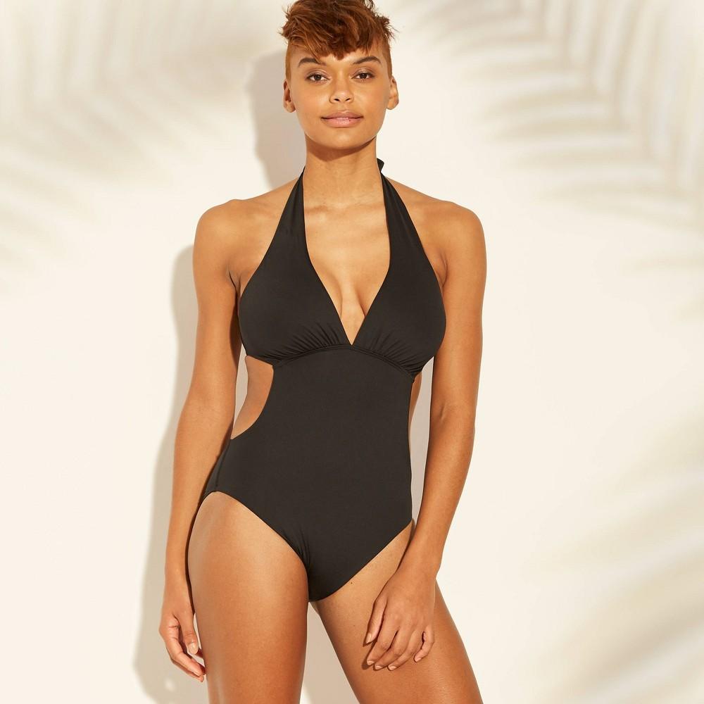 Women's Plunge Front Monokini One Piece Swimsuit - Sunn Lab Swim Black S