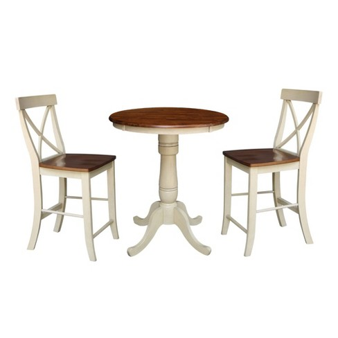 Round Pedestal Counter Height Table with 2 Counter Height Stools Brown - International Concepts - image 1 of 4