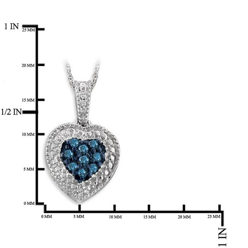 189cb54df704 Women s 1 10 CT. T.W. Round-Cut Diamond Heart Pendant In Sterling Silver(18