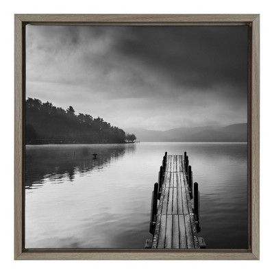 """16"""" x 16"""" Lake view with Pier II Framed Canvas Wall Art - Amanti Art"""
