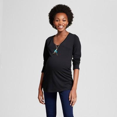 Maternity Long Sleeve Shirred T-Shirt - Isabel Maternity™ by Ingrid & Isabel® Black L