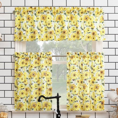 """36""""x54"""" Sunflower Print Semi Sheer Rod Pocket Kitchen Curtain Valance and Tiers Set Yellow - No. 918"""