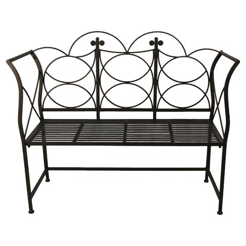 Pawley Metal Patio Bench - Black - image 1 of 5