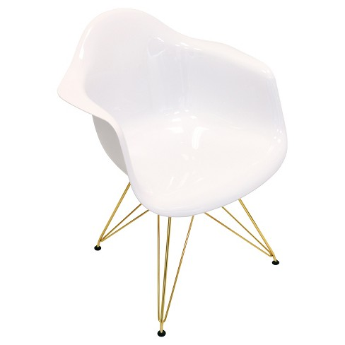 Neo Flair Mid Century Modern Gold Metal Legged Dining Chair Polycarbonate White Lumisource