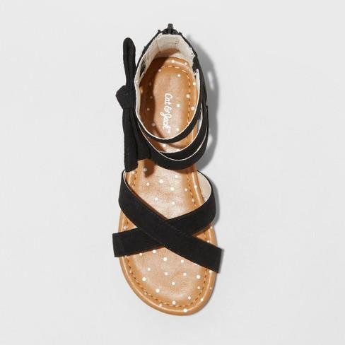 f99c6f5f9861 Girls  Rayna Microsuede Gladiator Sandals - Cat   Jack™ Black   Target