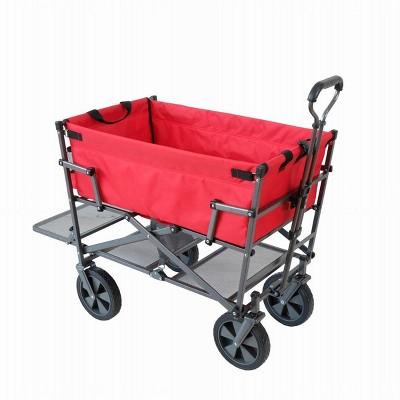 Mac Sports Heavy Duty Steel Double Decker Collapsible Yard Cart Wagon, Red