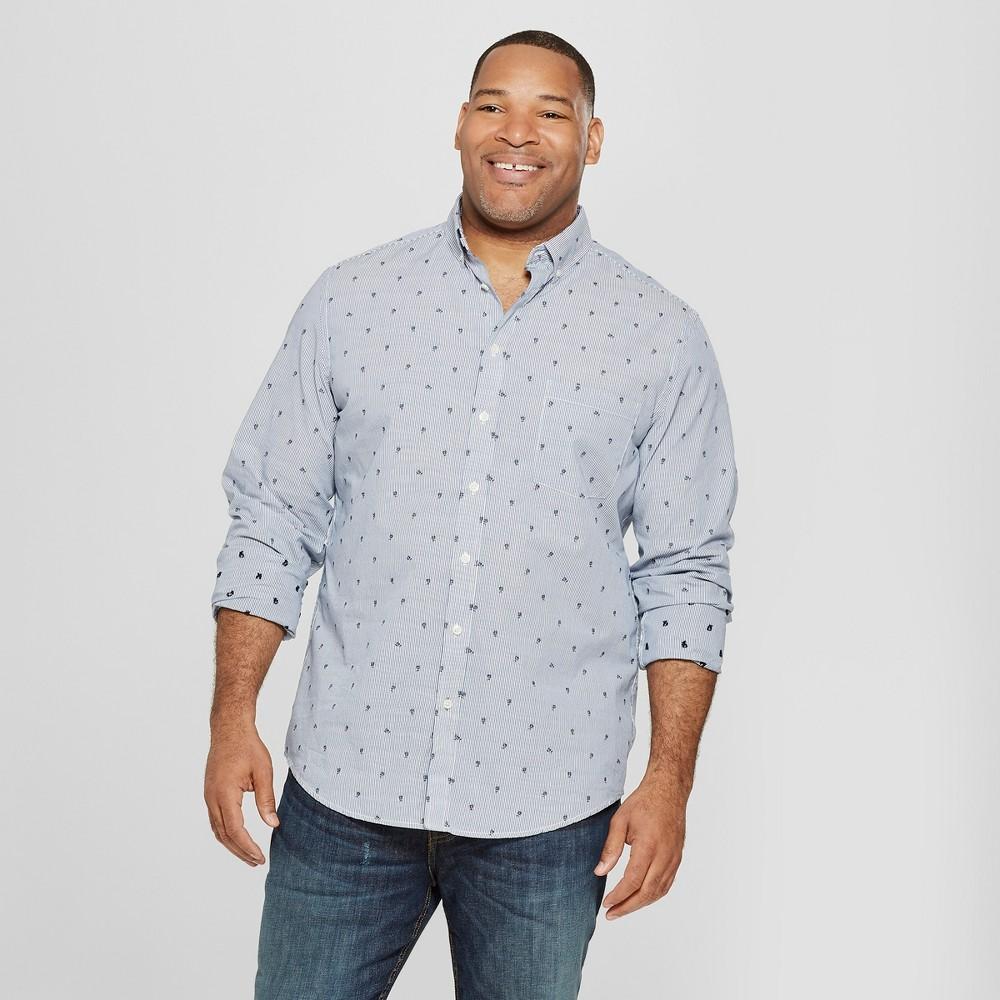 Men's Big & Tall Standard Fit Long Sleeve Soft Wash Northrop Button-Down Shirt - Goodfellow & Co Dark Night Navy 5XB, Blue