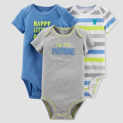 Baby Boys' 3pk Stripe Dino Bodysuit Set - Just One You® made by carter's Blue/Gray 24M