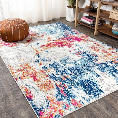 Pebble Navy & Marbled Abstract Area Rug - JONATHAN Y