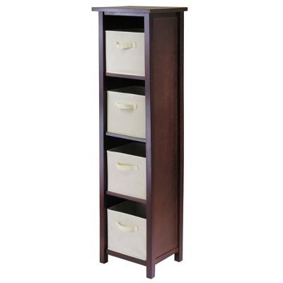 5pc Verona Storage Shelf with Folding Fabric Baskets Walnut/Beige - Winsome