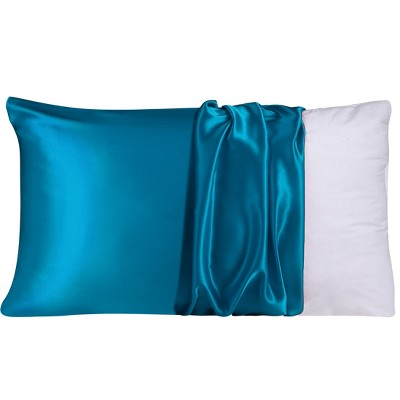 1 Pc Queen 100% Natural Pure Silk Pillowcase Peacock Blue - PiccoCasa