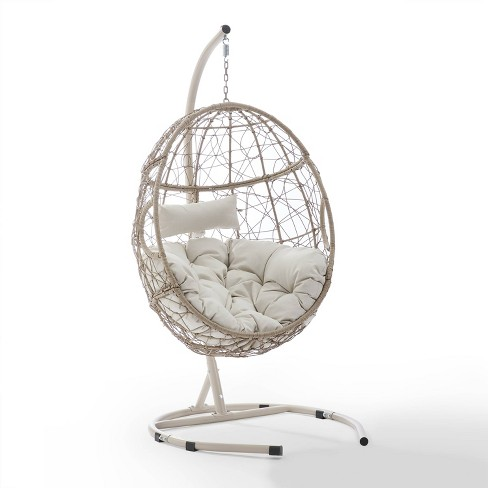 Cleo Outdoor Wicker Patio Hanging Egg Chair With Stand Crosley Target