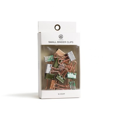 16ct Small Binder Clips Green & Brown - UBrands