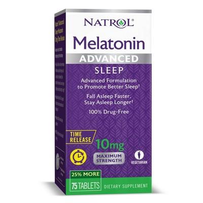 Natrol Melatonin Advanced 10mg Time Release Sleep Aid Tablets - 75ct