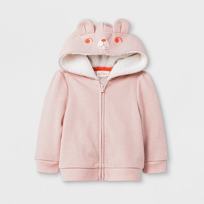 Baby Girls' Sparkle Critter Hoodie - Cat & Jack™ Peach 12 M