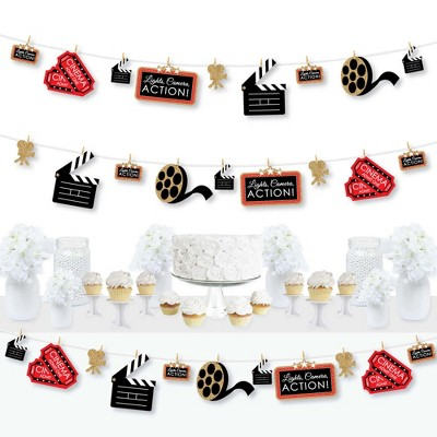 Big Dot of Happiness Red Carpet Hollywood - Movie Night Party DIY Decorations - Clothespin Garland Banner - 44 Pieces