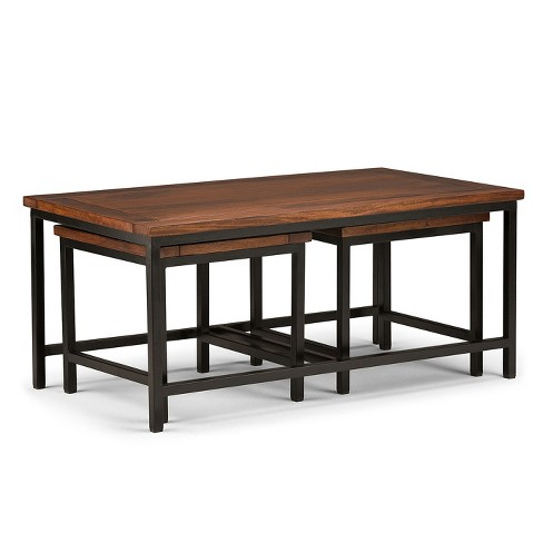 Rhonda Solid Mango Wood 3pc Nesting Coffee Table Dark Cognac Brown
