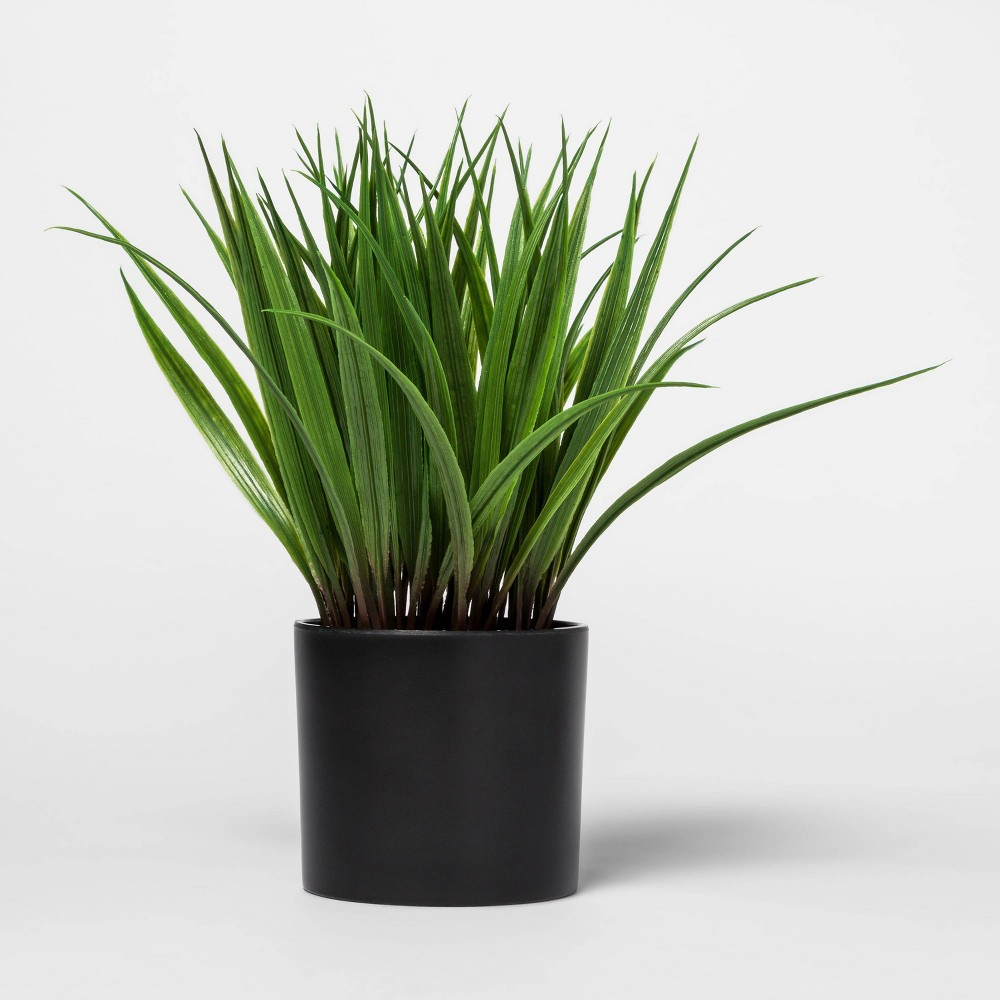 "Image of ""10"""" x 7.5"""" Artificial Grass Arrangement in Pot Green/Black - Project 62"""