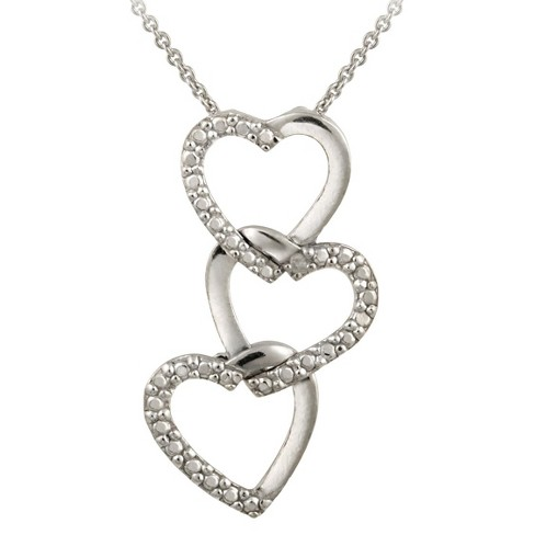 "Sterling Silver Diamond Accented Triple Heart Necklace 18"" - image 1 of 1"