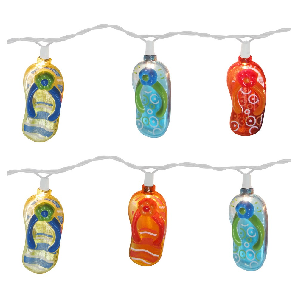 Image of 11' 10 Lt Beach Flip Flops String Light - Set of 2, Multi-Colored