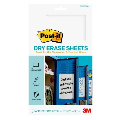 "Post-it 3pk 7"" x 11.3"" Super Sticky Dry Erase Sheets"