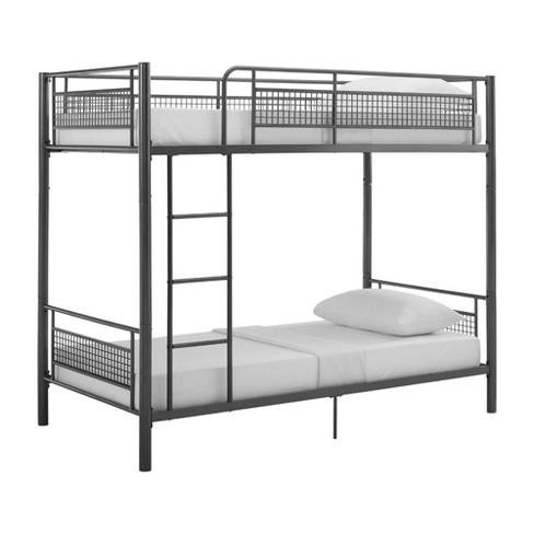 Twin Metal Mesh Frame Bunk Bed Gunmetal Gray Saracina Home Target