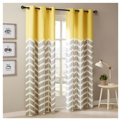 Elaine Chevron Printed Grommet Top Curtain Panel Pair Yellow (42 x63 )