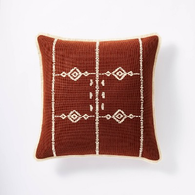 Square Geo Embroidered Throw Pillow Rust - Threshold™ designed with Studio McGee
