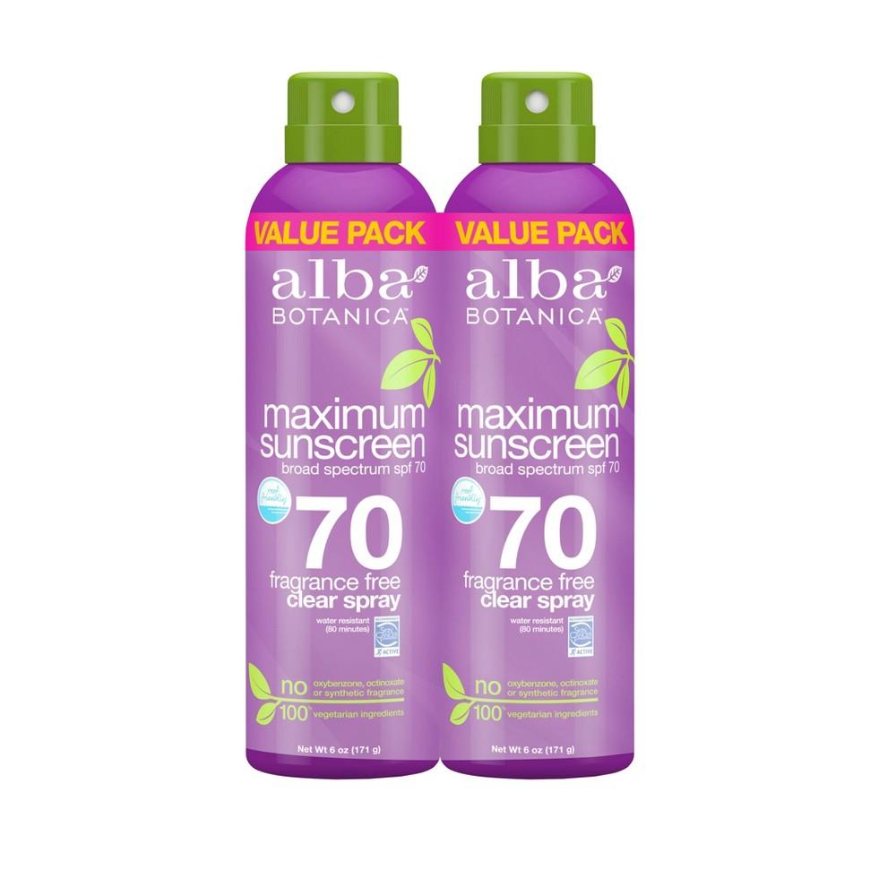 Image of Alba Botanica Maximum Sunscreen Spray - SPF 70 - 2pk/6oz Each