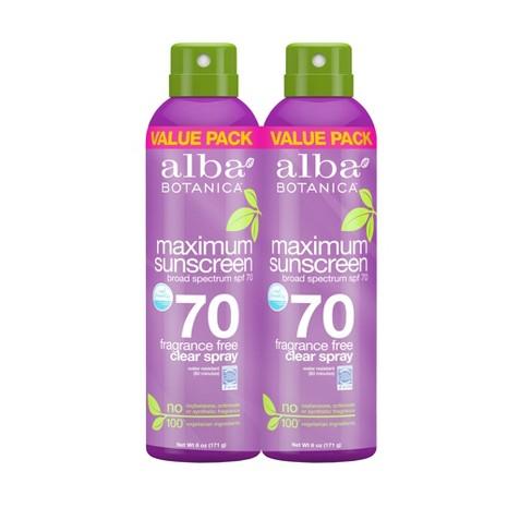 Alba Botanica Maximum Sunscreen Spray - SPF 70 - 2pk/6oz each - image 1 of 3